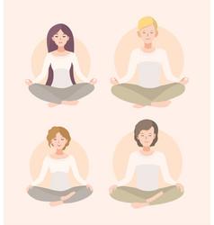 set young woman and man meditating in lotus pose vector image