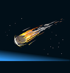 Falling asteroid into atmosphere vector