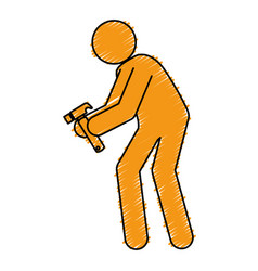 Worker silhouette with hammer vector