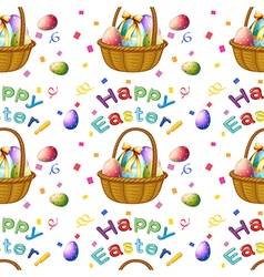 Seamless design with easter eggs in a basket vector