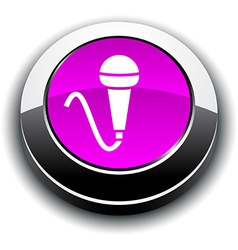 Mic 3d round button vector