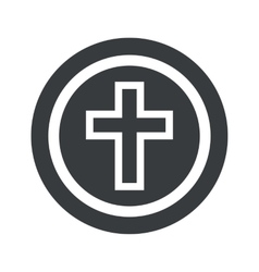 Round black christian cross sign vector image
