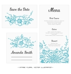 Wedding set menu save the date guest card vector