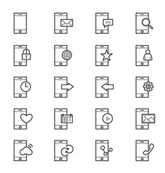 Mobile phone device icons line vector