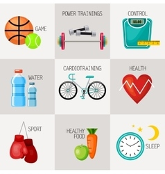 Healthy lifestyle concept icons set vector