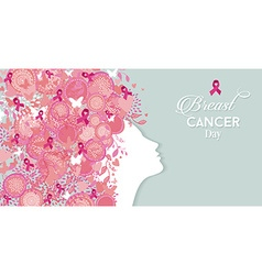 Breast cancer day woman silhouette pink ribbon vector