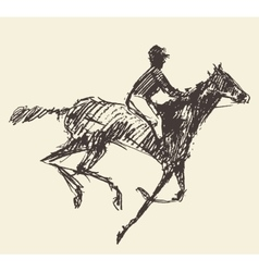 Rider horse jockey retro style hand drawn sketch vector