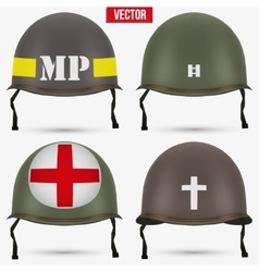 Set of military us helmet m1 wwii vector