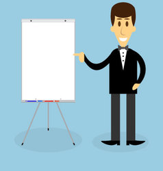 Man with banner presentation vector