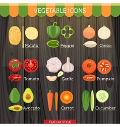 Colorful vegetables icon set vector