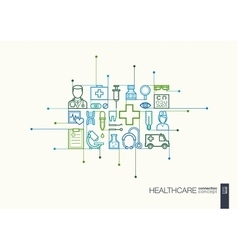 Healthcare integrated thin line symbols vector