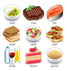 Food types icons set vector