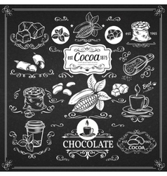 Decorative vintage cocoa icons vector