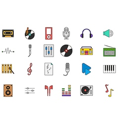 Music colorful icons set vector