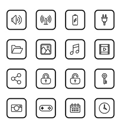 Black line web icon set rounded rectangle frame vector