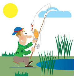 a fisherman catches a fish vector image
