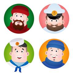 a set of cartoon portraits of avatars of sailors vector image