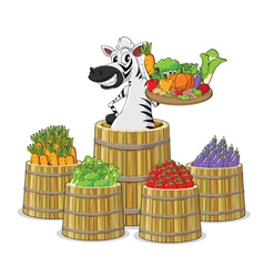 A zebra and vegetables vector