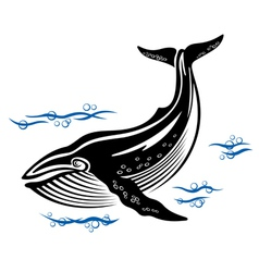 Big whale in sea water vector
