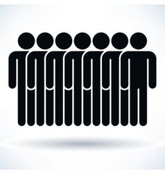 Black seven people man figure with drop shadow vector