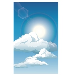 blue sky clouds sun shinign vector image