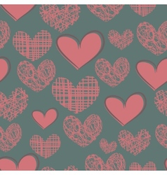 Cartoon seamless pattern with hearts on a blue vector image
