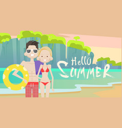 couple on beach hello summer vacation tropical vector image vector image