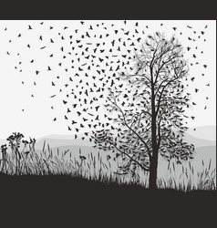Crows in a tree chestnut vector