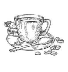 cup of coffee and beans engraving style vector image