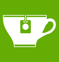 cup with teabag icon green vector image