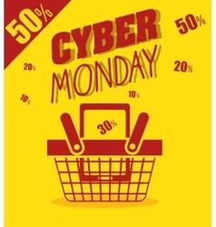 Cyber monday basket cellphone discount yellow vector