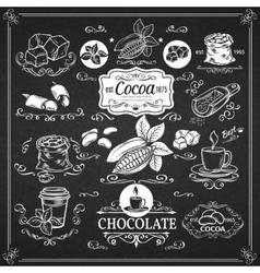 Decorative vintage cocoa icons vector