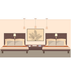 elegant hotel room interior for two persons vector image