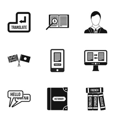 Foreign language icons set simple style vector