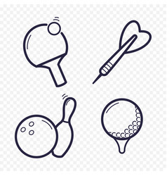 Games linear icons ping-pong golf bowling vector