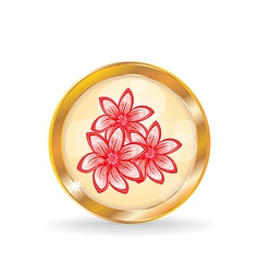 Golden circle label button with flowers vector image vector image