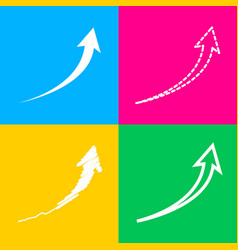 Growing arrow sign four styles of icon on four vector