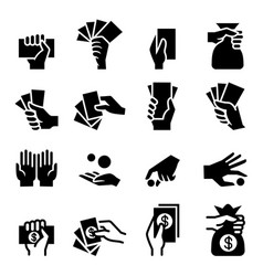 hand and money icon vector image vector image