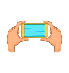 Hands holding cell phone icon cartoon style vector
