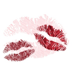 Lipstick kisses vector image