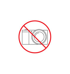 No camera line icon no photo red prohibited sign vector