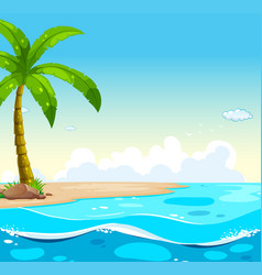 ocean scene with tree on the beach vector image