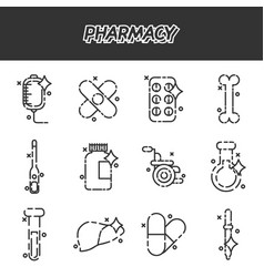 pharmacy cartoon concept icons vector image vector image
