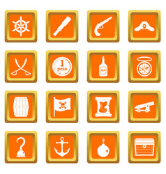 Pirate icons set orange vector