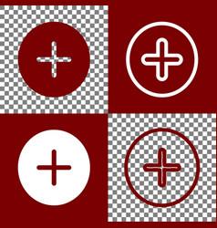 Positive symbol plus sign bordo and white vector