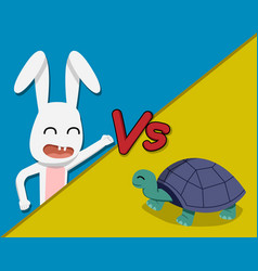 rabbit versus tortoise cartoon vector image vector image