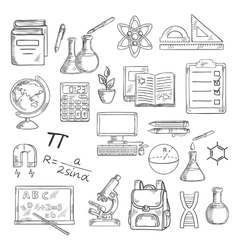 School supplies sketches for education design vector image vector image