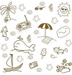 Set beach doodle art vector image