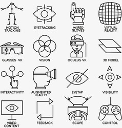 Set of linear icons of devices for virtual reality vector