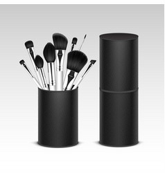 Set of professional makeup brushes in tube vector